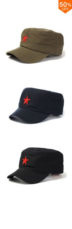 2d93a0d47 ... free shipping new fashion unisex red star cotton army cadet military cap  adjustable durable flat