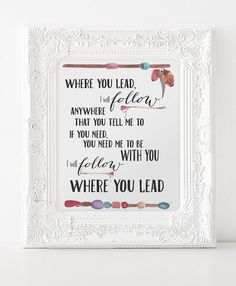 Gilmore Girl Print, Song, Where You Lead I Will Follow Printable INSTANT DOWNLOAD, Lorelei Gilmore, Rory, Gilmore Girls Print ,Stars Hollow