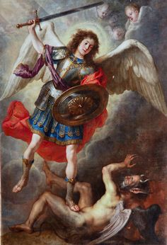 St Michael the Archangel, associated with Ogun, Orisha of war, in Cuba. Religious Paintings, Religious Art, St Michael Tattoo, Angel Hierarchy, Crying Angel, Wolf Tattoo Sleeve, Kunst Online, Angel Warrior, Baroque Art