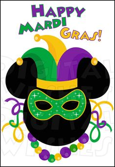 Mickey Mouse Mardi Gras Digital Iron on transfer clip art image INSTANT DOWNLOAD Image DIY for Shirt
