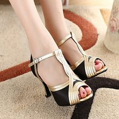 Customized Fashion Women's Satin And Leatherette Upper Dance Shoes - USD $ 34.99