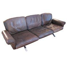1970's De Sede Tobacco Leather Sofa on Chrome Legs