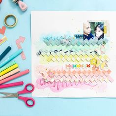 Today I'm back on the @pinkpaislee blog sharing a really fun scrapbook layout! On this page I'm combining a really cool mixed media technique using the @americancrafts water-soluble crayons along with a paper weaving technique you can do with any of your paper scraps. You can find all the details on the Pink Paislee blog along with the process video where I walk you step by step on how to recreate everything! You are going to love it! #pinkpaislee #americancrafts #abmcrafty…