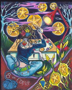 8 of Coins (aka eight of pentacles) Bonefire Tarot by Gabrielle West.