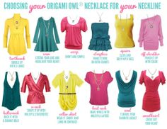 Here's a great visual for choosing a necklace for your top/neckline.  I love that with Orgiami Owl, you can order ala carte basic necklaces!