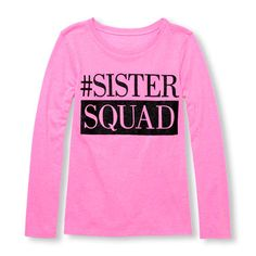 Girls Long Sleeve Glitter 'Sister Squad' Neon Graphic Tee