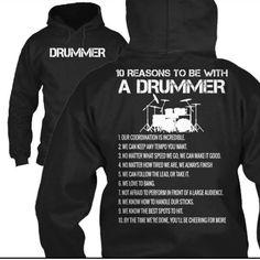 """Reasons to be a drummer"" hoodie"