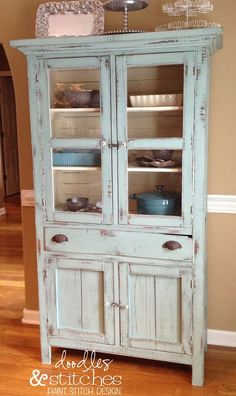 "Shabby Chic cabinet Dorotha Pie Safe ""Duck Egg Blue"" Annie Sloan Chalk Paint ♥ white on the inside helps to display bakeware Annie Sloan Chalk Paint White, Annie Sloan Paints, White Chalk, Duck Egg Blue Chalk Paint, Distressed Furniture, Repurposed Furniture, Shabby Chic Furniture, Distressed Hutch, Rustic Hutch"