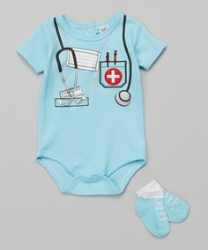 Look at this Baby Essentials Aqua Doctor Bodysuit & Socks - Infant on #zulily today!