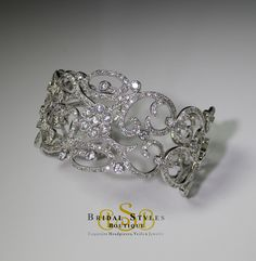 Bridal Styles Boutique - Crystal encrusted Filigree Cuff Bracelet, $225.00 (http://shop.bridalstylesboutique.com/crystal-encrusted-filigree-cuff-bracelet/)