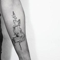 Sin of greed: fox. Line Art Tattoos, Sexy Tattoos, Body Art Tattoos, Sleeve Tattoos, Fashion Tattoos, Tatoos, Fox Tattoo Design, Sketch Tattoo Design, Tattoo Designs