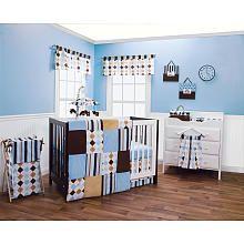 Trend Lab Prep School Blue 6-Piece Crib Bedding Set - Blue/Brown