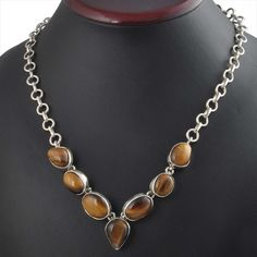 LATEST STYLE 925 STERLING SILVER FANCY YELLOW TIGER EYE NECKLACE 33.66g NK0023 #Handmade #NECKLACE