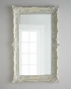 """Antique White"" Mirror by Bassett Mirror, Inc. at Horchow. White Mirror, Round Wall Mirror, Beveled Mirror, Diy Mirror, French Mirror, Mirror Ideas, Mirror Art, Antique Floor Mirror, Antiqued Mirror"