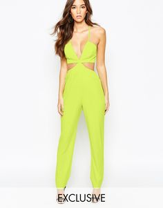 1c5d9a8396 NaaNaa Cut Out Plunge Tailored Jumpsuit at asos.com