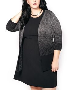 Add some glitz and glamour to your look with this glamorous plus-size cardigan!