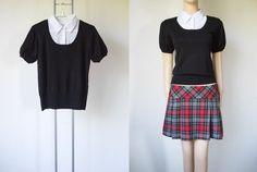 CLUELESS & Cher Forever <3 :) 90's Vintage Bib Collar Black Knit T-shirt Sweater Blouse w/ White Bib & Puffy Sleeve ~ Schoolgirl Uniform Style > Women's Small S Medium M