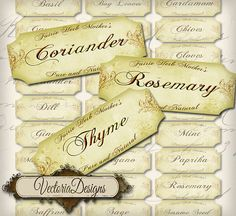INSTANT DOWNLOAD Spice and Herb Labels