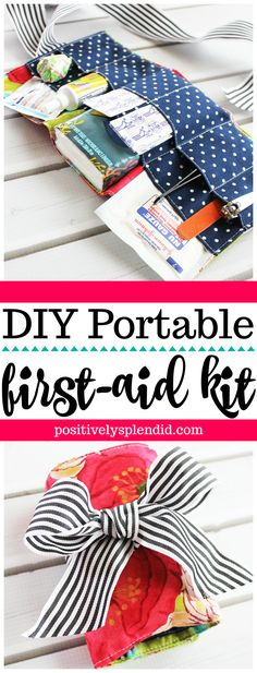 Sewing Gifts DIY Portable First Aid Kit Sewing Pattern and Tutorial - Always be prepared with this handmade portable first aid kit! DIY tutorial for how to sew a small first aid kit to take on the go. Easy Sewing Projects, Sewing Projects For Beginners, Sewing Hacks, Sewing Tutorials, Tutorial Sewing, Diy Projects, Sewing Kits, Wooden Projects, Diy Tutorial