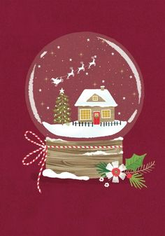 Discover recipes, home ideas, style inspiration and other ideas to try. Christmas Snow Globes, Christmas Mood, Noel Christmas, Christmas Design, Vintage Christmas, Christmas Crafts, Christmas Phone Wallpaper, Christmas Aesthetic Wallpaper, Illustration Noel