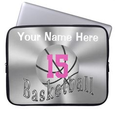 """Cute Personalized Basketball Laptop Case with Her Jersey NUMBER (or Monogram) and NAME.  Cute Silver Basketball with Pink Jersey Number and Her Name above that. Glassy like """"Basketball"""" scrolled across the ball. See the Matching Phone Cases by Clicking on the category link below. More Basketball Stuff CLICK HERE: http://www.zazzle.com/littlelindapinda/gifts?cg=196808750908670951&rf=238147997806552929  ALL of Little Linda Pinda Designs CLICK HERE: http://www.Zazzle.com/LittleLindaPinda*/"""