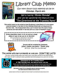 """awesome Library Club """"Movie Monday"""" Poster"""