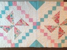 2 quilt as you go blocks joined without a sashing strip. This allows the chain pattern to flow.