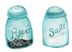 Aqua Blue Canning Jars Salt & Pepper watercolor by SharonFosterArt Day 17 of 30 paintings in 30 days #art #watercolor #kitchendecor