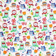 kawaii beautiful white owl fabric by Timeless Treasures