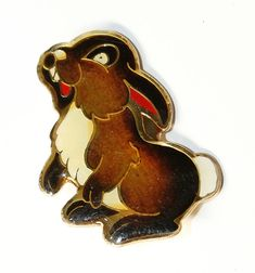 Small Rabbit Brown and White Enamelled Vintage Brooch c1980s