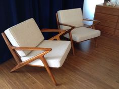 Danish+Mid+Century+Modern+Selig+Z+Style+Teak+Lounge+Chair+Chairs+-+2+Armchairs++
