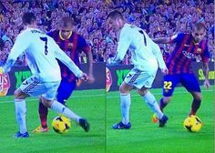 #MejoresImagenesDel2013   El Caño de Dani Alves a Cristiano Ronaldo en el Clásico.