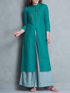Buy Cyan Zari & Thread Embroidered Yoke Matka Silk Kurta Apparel Tunics Kurtas Online at Jaypore.com