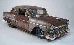 1955 Chevy Custom Weathered Barn Find Drag Car Rat Rod 1 18 Diecast HotWheels