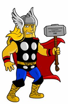 Thor in The Simpson's style