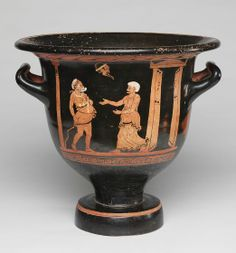 Bell Krater (mixing bowl for wine and water): Scene from a Comic Play   Harvard Art Museums
