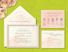 Invitation Designs We Love, Wedding Invitations Photos by Bella Carta: I like the background in this invitation and I especially like the card that spells out the timeline of the event.