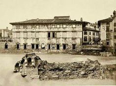Ponte Pietra distrutto dall'alluvione del 1882