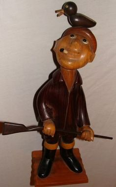 "Vintage Italian Wood Carved Hunter w/ Gun & Bird Duck Man 13"" Italy Romer Art  Click on picture to take to ebay site"