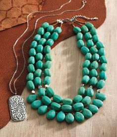 #turquoise and artisan silver - perfection! | Basilica Necklace & Drops of the Ocean Necklace.....love, love, love turquoise!  mysilpada.com/kelley.weis