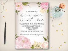 Wedding Invitation Elegant Peony Invitation by VintageBellsAndCo