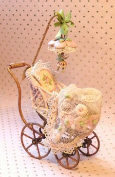 Jill Dianne antique style Pink Mechanical Fairy Buggy.