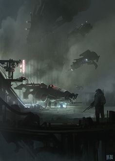 'Maintenance' by Ben Andrews, cyberpunk, dystopia, dark, science fiction, futuristic vehicles