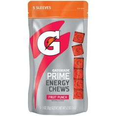 Gatorade Prime Energy Chews, Fruit Punch, 5 Count, 1 oz. Sleeves
