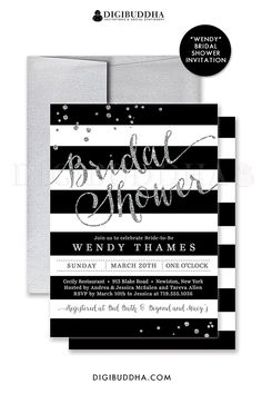 Black and white bridal shower invitation with silver glitter details and confetti sprinkles in the corners. Choose from ready made printed invitations with envelopes or printable bridal shower invitations. Silver shimmer envelopes also available. digibuddha.com