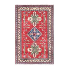 Herat Oriental Afghan Hand-knotted Kazak Red/ Rug (5'10 x 9'1) (Afghan Hand-knotted Area Rug)