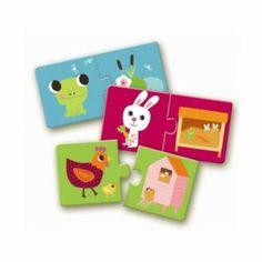 Erstes Duo Lernpuzzle Habitat Wo wohn ich? von Djeco - Bonuspunkte sammeln, auf Rechnung bestellen, Blitzlieferung per DHL!