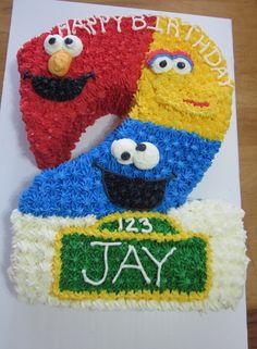 sesame street 1st birthday cake   Greyson's 1st Birthday / Sesame Street Birthday Cake. Elmo, Big Bird ...