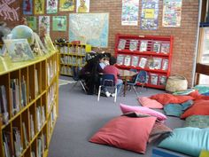 school library-note the shelving on the left