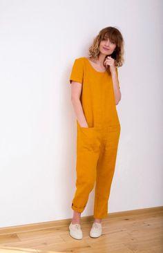 Mustard Linen Jumpsuit Linen Jumpsuit Short Sleeve Jumpsuit